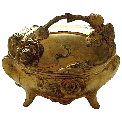 Antique Victorian Gilt Metal Casket with Figural 3-D Roses