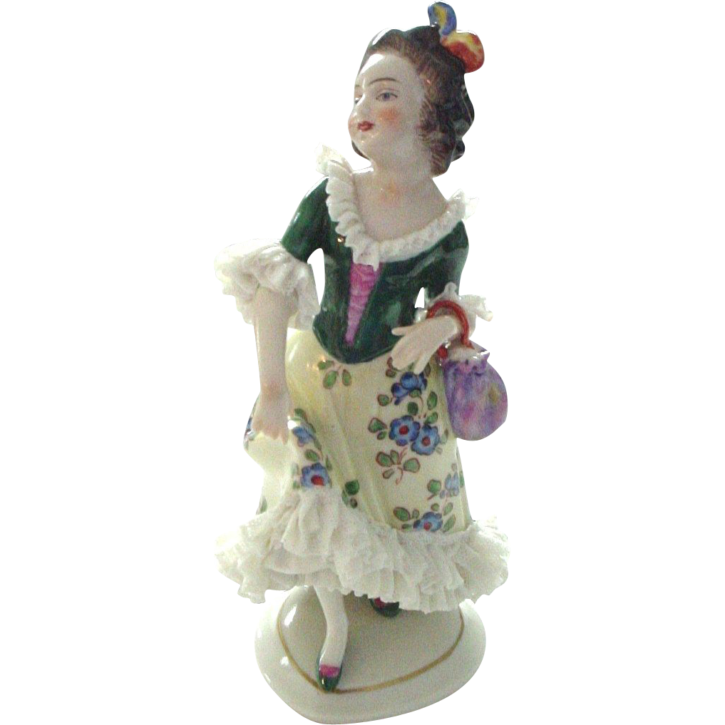 Oldest Volkstedt Dresden Lace Figurine of Lady