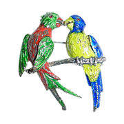 Large German Germany Sterling Silver and Enamel Love Birds Parrot Pin - Kissing Parrots