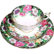 Paragon Cup, Saucer, and Dessert Plate Trio Westdale with Rose Flower Border