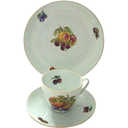 Czechoslovakia Fruit Decorated Cup, Saucer, and Dessert Plate Trio - Cherries and Plums