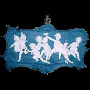 Antique German Volkstedt 8 Figure Bacchanalian Putti Jasperware Plaque