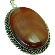 Beautiful and Large Chunk of Carnelian and Sterling Silver Pendant