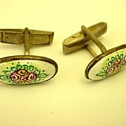 Handpainted Porcelain on Sterling Silver Cufflinks - Cuff Links