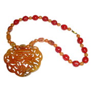 Very Large Chinese Jade Carved Lock Ruyi Form Pendant Necklace in Shades of Russet Necklace with Squirrel