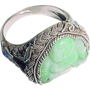 Vintage Chinese Jade Buddha and Silver Enamel and Filigree Ring