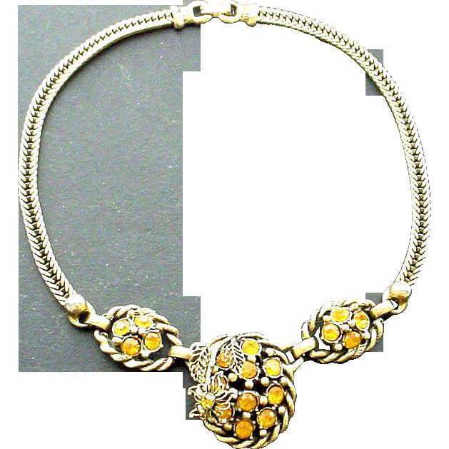 Golden Rhinestones in Goldtone Chain