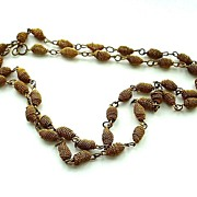 "Very Long Vintage Old Gold Metal Link Necklace 40"""