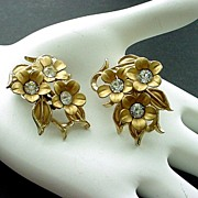 Pair of Vintage Gold Tone and Rhinestone Earrings
