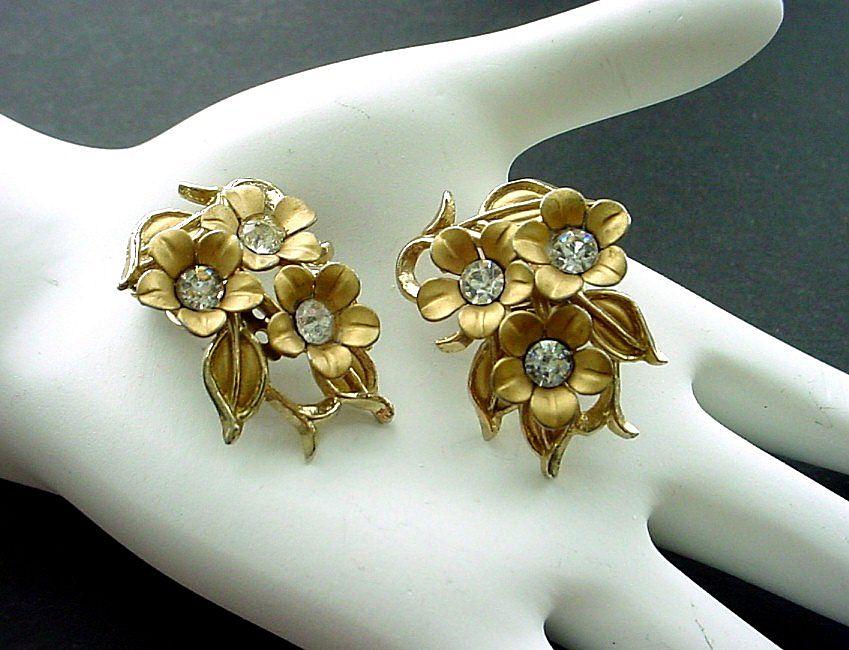 Pair of Vintage Gold Tone and Rhinestone Earrings