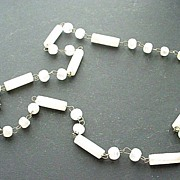 "Vintage Translucent White Glass Beaded Necklace 25"""
