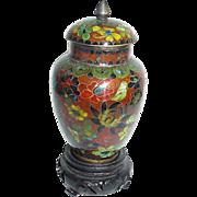 Vintage Miniature Chinese Cloisonne Covered Vase or Urn