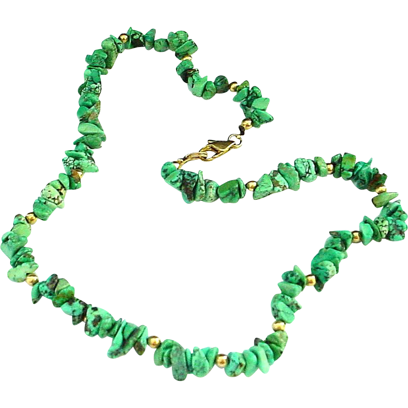 """17"""" Turquoise Nugget Necklace"""