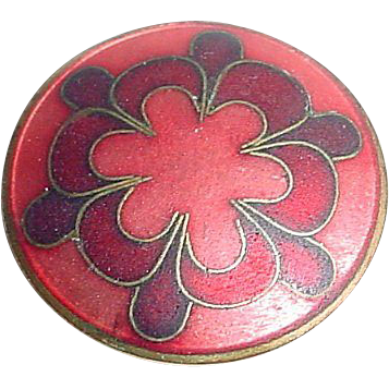 Enamel on Copper Pin with Scandinavian Type Design