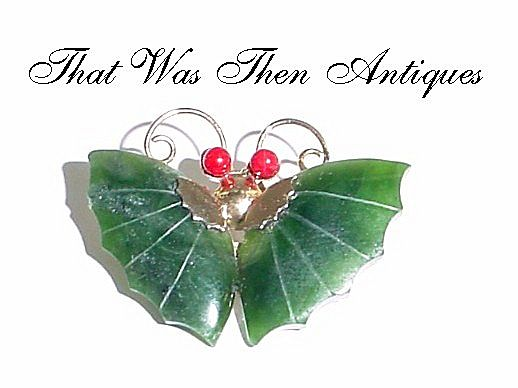 Dark Green Jade and Red Eye Butterfly Pin