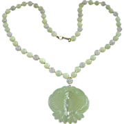 Vintage 1953-83 Hobe' Celadon and Lavender Stone Beads with Double Fish Pendant