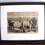 Framed 1877 Harper's Weekly Engraving of Brooklyn Bridge Under Construction