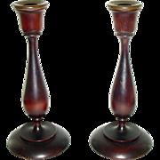 Pair of Elegant Turned Wood Candlesticks Candle Sticks