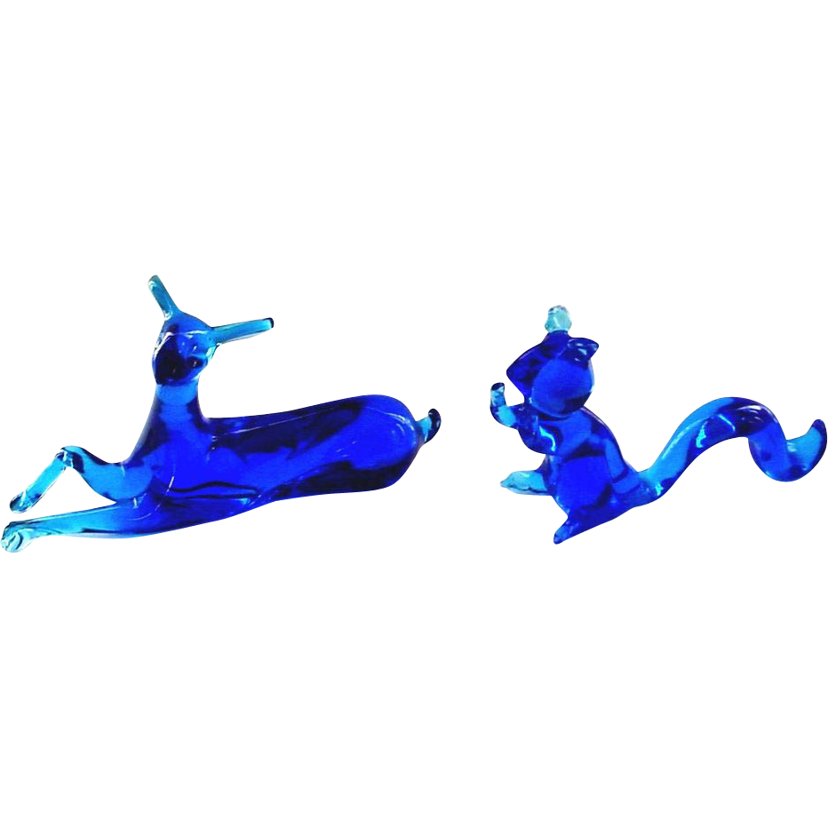 Cobalt Blue Glass Animal Figures - A Recumbent Deer and a Squirrel