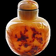SALE Large Banded Agate Hardstone  Intricately Carved Snuff Bottle - Birds and Landscape