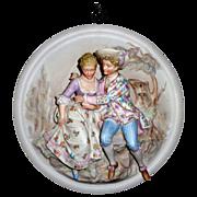 Extraordinary 3 Dimensional Porcelain Cuddling Couple Plaque #2 - German