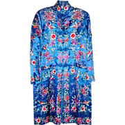 Brilliant Royal Blue Chinese Silk Embroidered Robe or Kimono with Pockets - Birds, Chrysanthemums