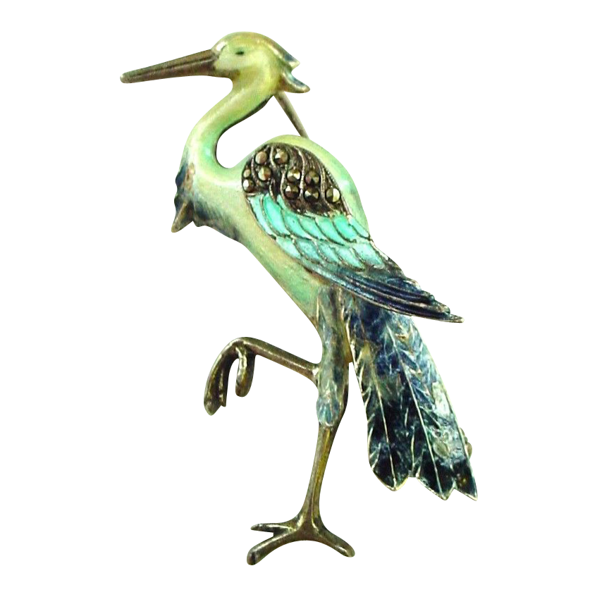 Great Blue Heron Bird Pin in enamel on Sterling 935 Silver with Marcasites - Deco Period