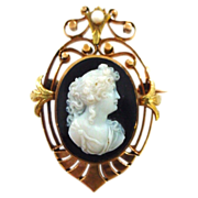 SALE Antique 18K Yellow and Rose Gold Hardstone Agate or Onyx Cameo