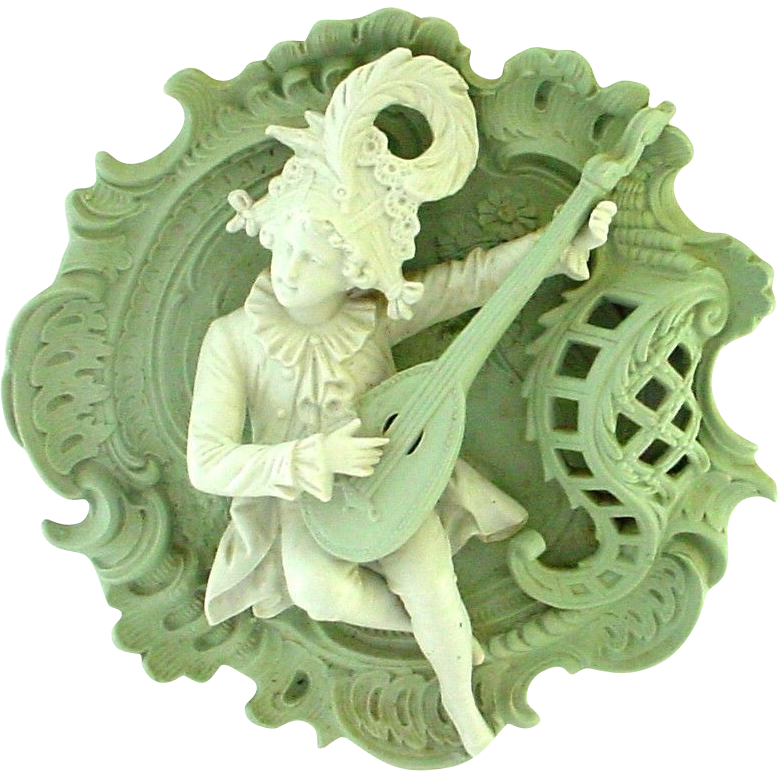 Very Large Jasperware Plaque of Mandolin Player - Extremely 3D