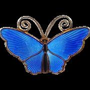 David Andersen Blue Enamel on Sterling Butterfly Pin
