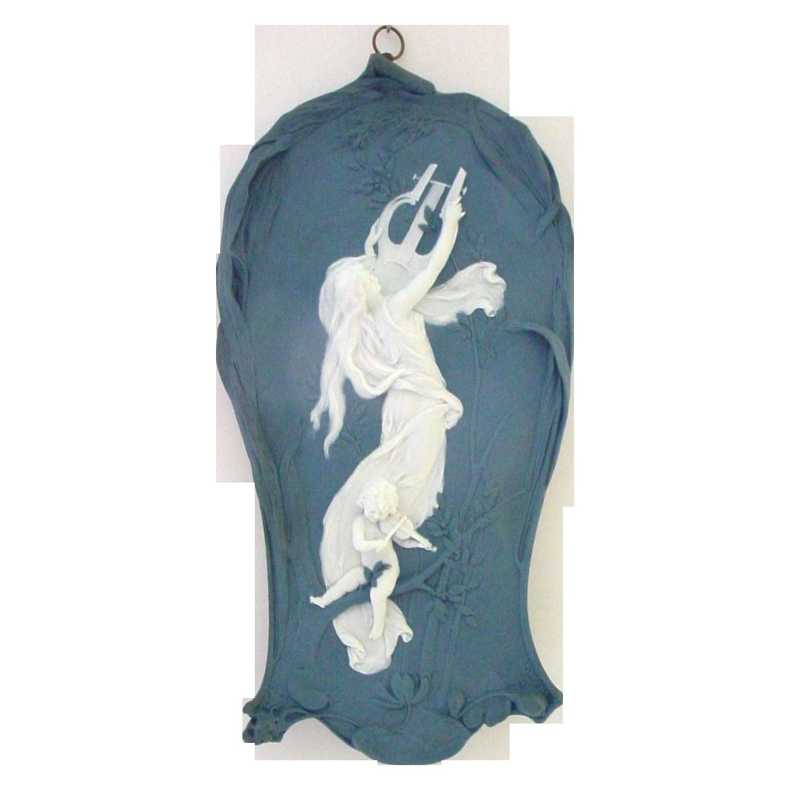 Wonderful Jasperware Jasper Ware Art Nouveau Plaque with Woman, Lyre, Cherub Playing Violin