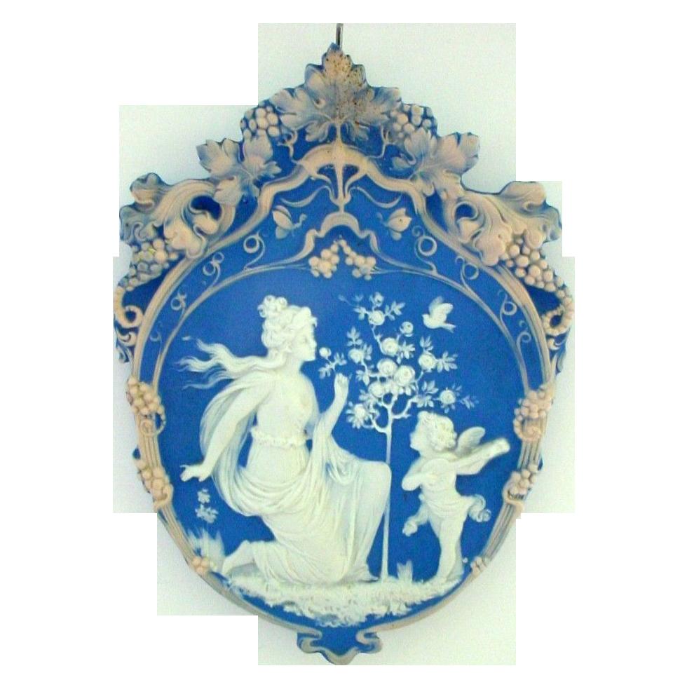 Tricolor German Jasperware Jasper Ware Plaque Woman with Serenading Cupid or Angel