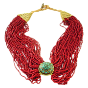 Tribal Ethnic 20 Strand Coral Necklace with Turquoise