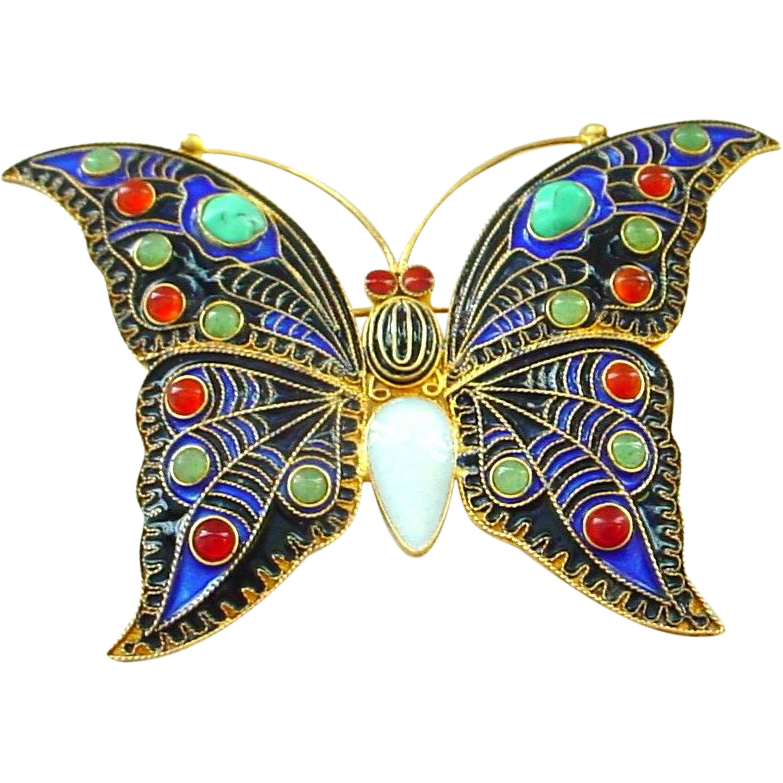 Dazzling Jewelled Enamel on Gold Washed Sterling Silver Large Butterfly Pin