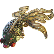 "Our BEST EVER Chinese Silver Enamel Giant 7"" Articulated Fancy Googly Eye Goldfish or Koi in Jade Green"