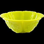 "Chinese Peking Glass Melon Lobed Bowl 7 1/4"""