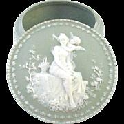 Larger Jasperware Jasper Ware Box with Cupid Angel and Beautiful Woman