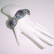 Chinese Sterling Silver Enamel and Rare CARVED Amethyst Bracelet