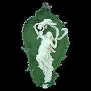 "13 1/2"" Antique Volkstedt Germany Jasperware Plaque Woman and Cherub"
