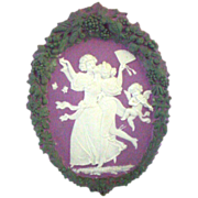 Rare Signed Schafer & Vater Tricolor Plaque of Romantic Couple with Serenading Angel