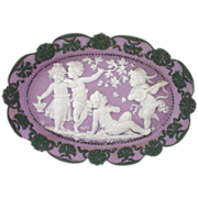 Tricolor Jasperware Plaque Lavender Lilac Background with 4 Children