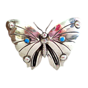 Unusually Large 1920s-1940s  Mexico Silver Butterfly Pin