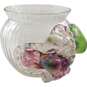 Masterful Antique Art Glass Vase Bowl with Applied Decoration