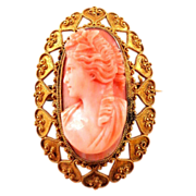 SALE Antique 18K Etruscan Revival, 1870s Coral Cameo High Relief Carved Brooch Pin or Pendant