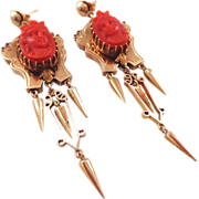 Our BEST Antique 14K Carved Coral Cameo Dangle Earrings