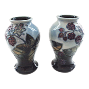 Moorcroft Bramble Pair of Vases