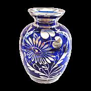 Cobalt Blue and Silver Deposit Vase