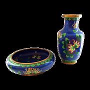 Vintage Set of Chinese Cloisonne Vase and Bowl