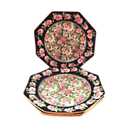 4 Crown Ducal Ivory Chintz Octagonal Plates with Rose Border