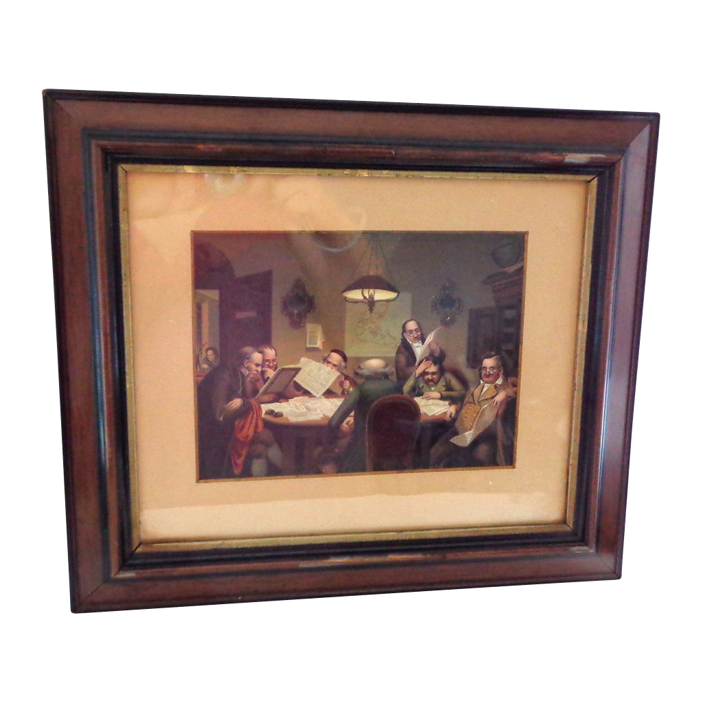 Antique Framed Mezzotint Lawyers Going over Contracts (1 of 2)
